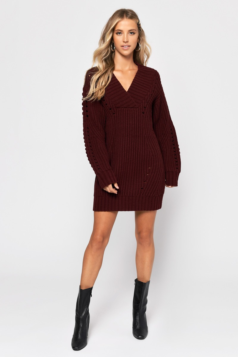 7a4828b80c7 Burgundy Sweater Dress - V Neck Sweater Dress - Burgundy Off ...