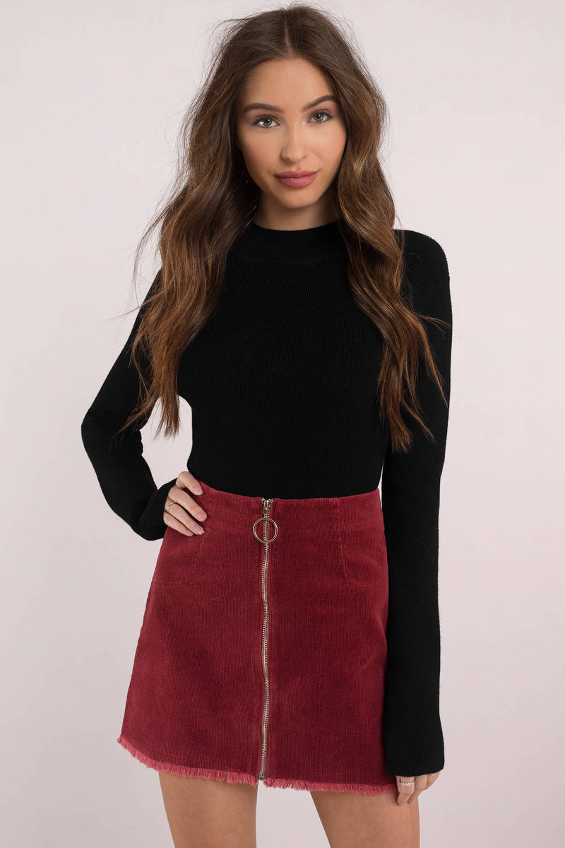 Always Remember Wine O Ring Corduroy Skirt 33 Tobi US
