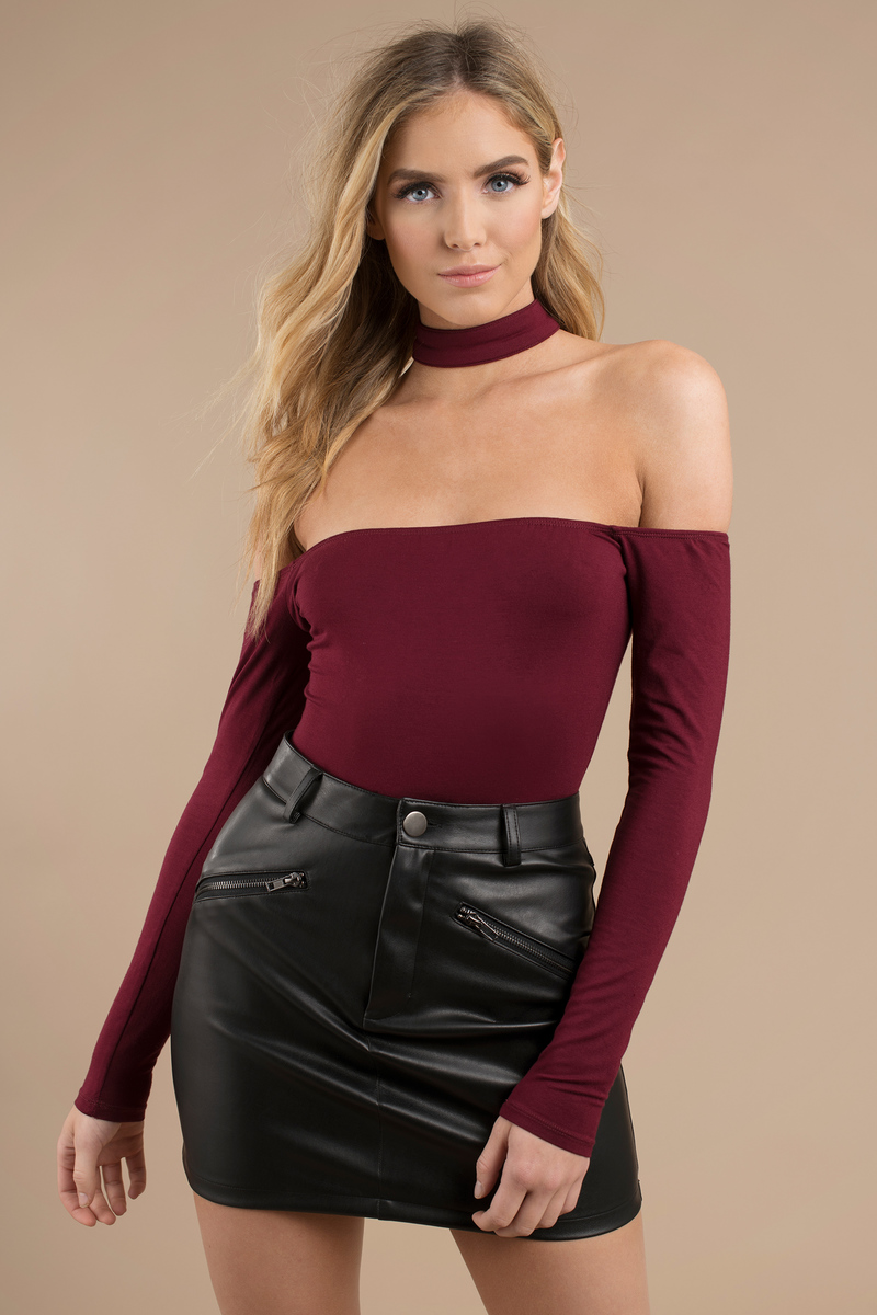 8d44bac3f5 Trendy Wine Bodysuit - Choker Bodysuit - Wine Bodysuit -  12