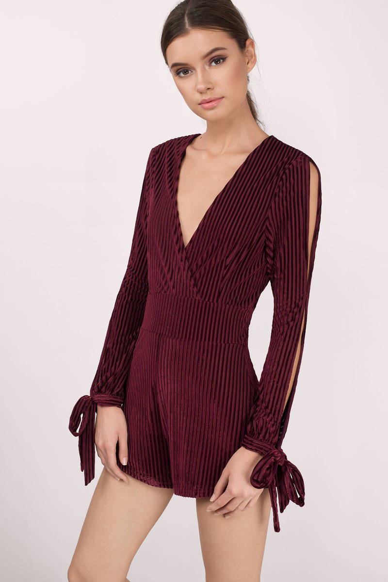 Honey Punch Honey Punch Ashley Wine Velvet Romper