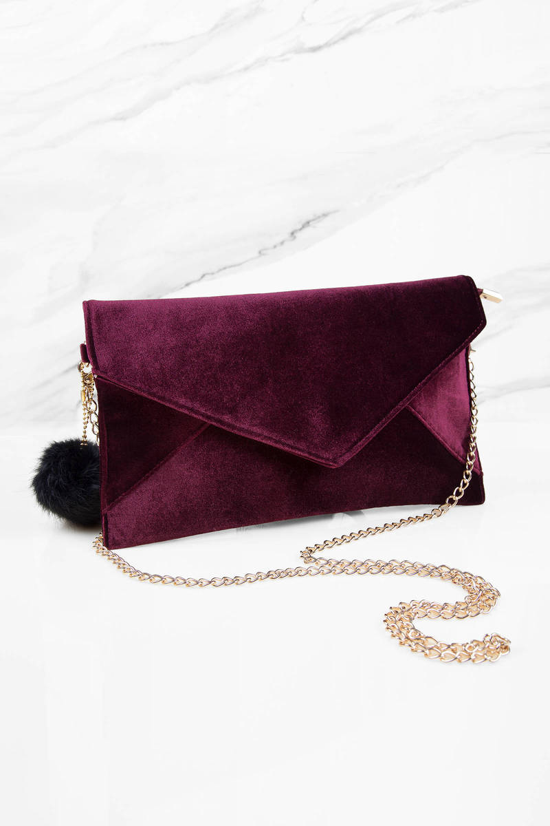 Ashlie Wine Velvet Envelope Clutch