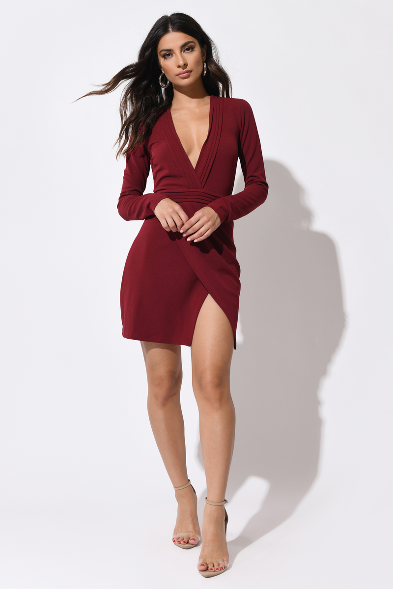 92f3a86bc3 Red Bodycon Dress - Ruched Mini Dress - Red Plunging Dress -  27 ...