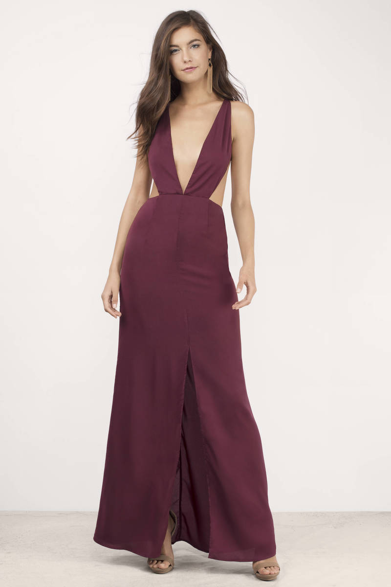 Sexy Wine Dress Backless Dress Royal Wine Gown Maxi