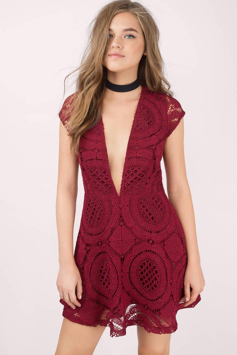 f4800e576df Wine Skater Dress - Red Dress - Deep V Dress - Red Jacquard Dress ...