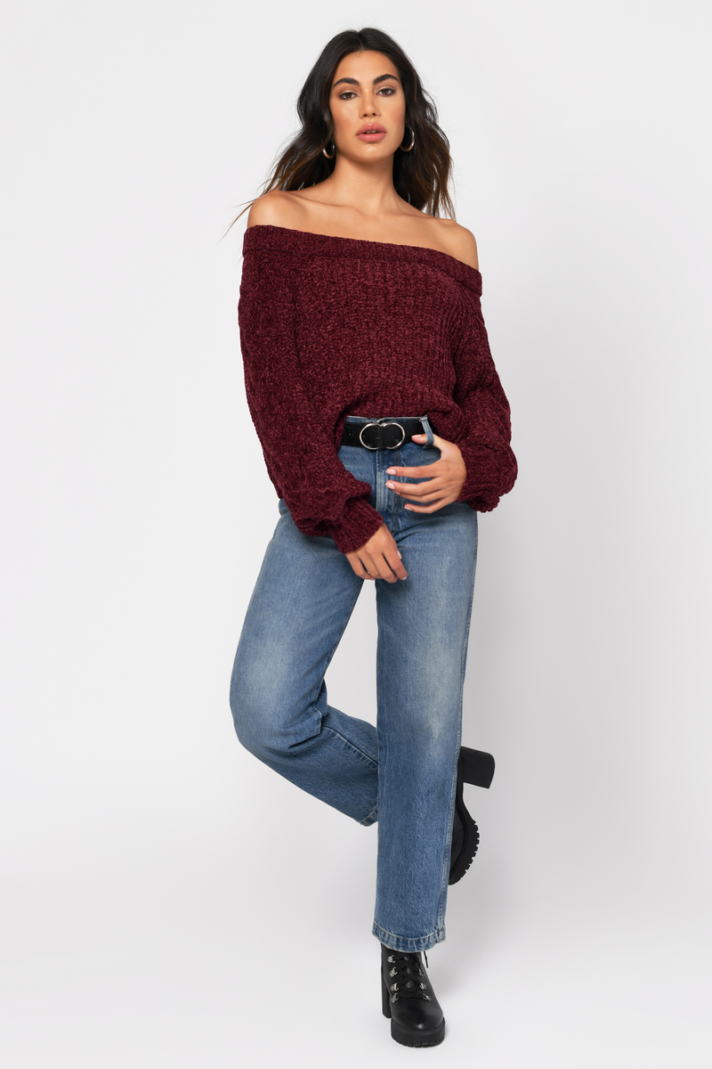 3af8029043b4 Burgundy Sweater - Chenille Cropped Sweater - Burgundy Slouchy ...