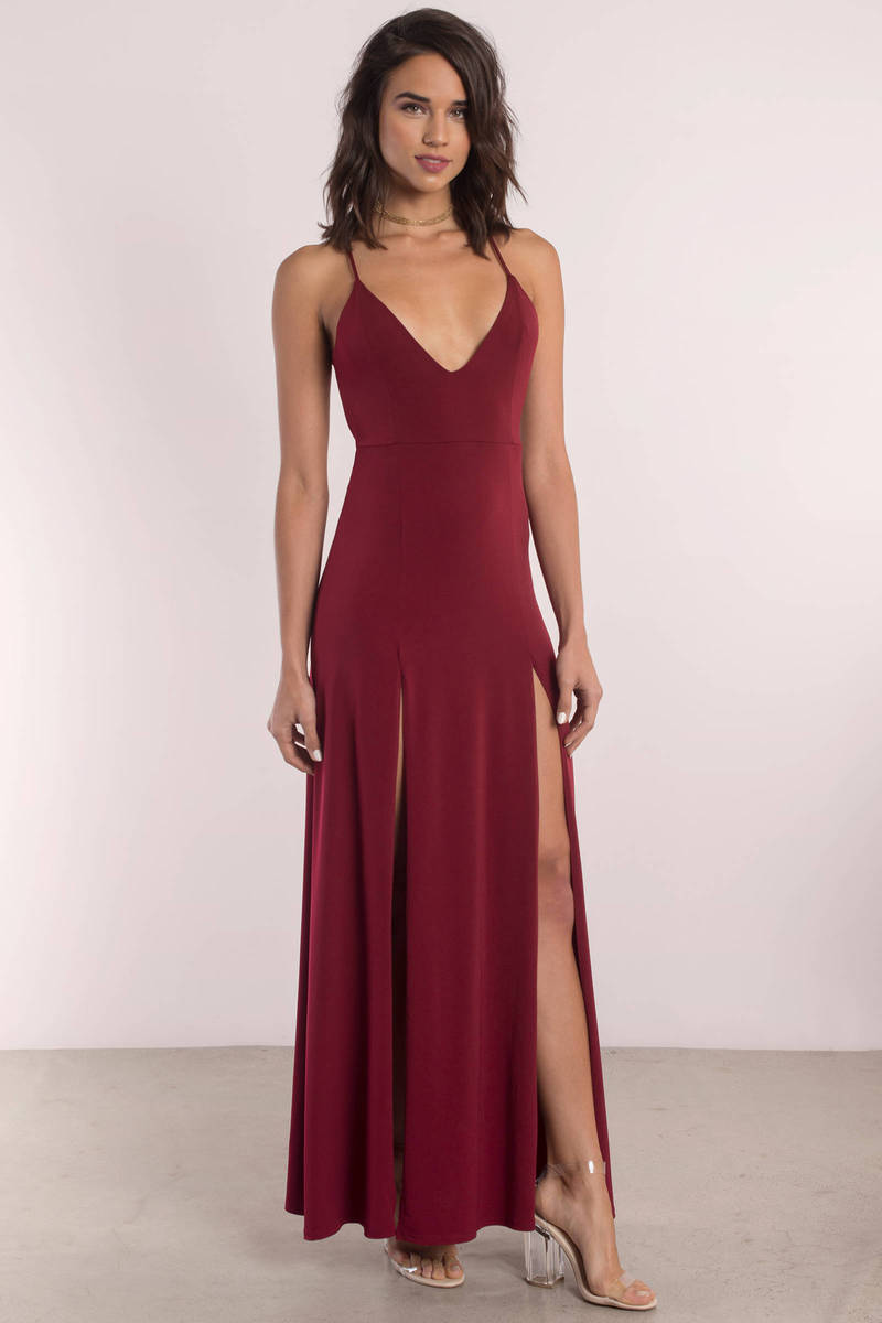 Cassandra Wine Criss Cross Back Maxi Dress