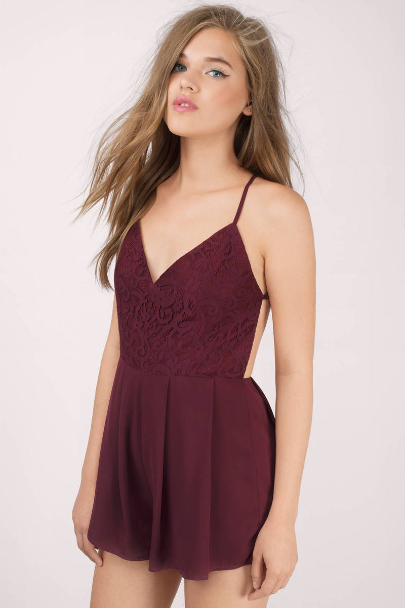 Chase After Wine Lace Romper