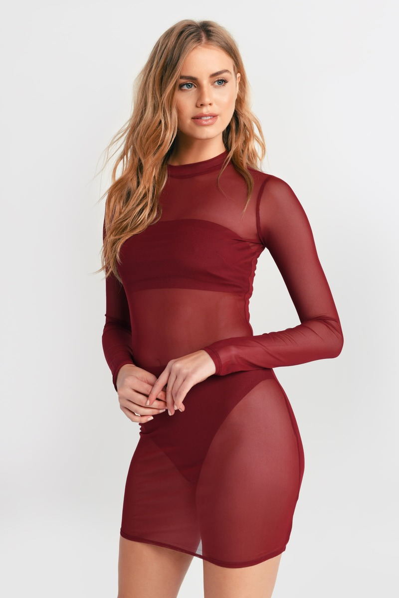 Cute Red Bodycon Dress - Mesh Mini Dress - Red See Through Dress ... 5df0cc1ba