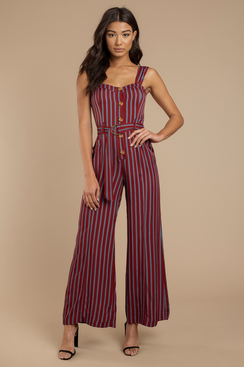 a6a59823a59c Wine Free People Jumpsuit - Button Up Jumpsuit - Wine Striped ...