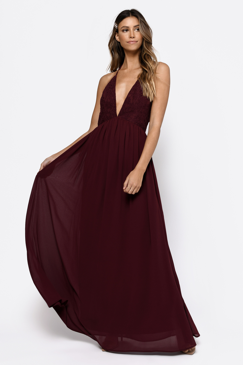 76f84de89a90 Burgundy Maxi Dress - Lace Maxi Dress - Burgundy Evening Dress -  47 ...