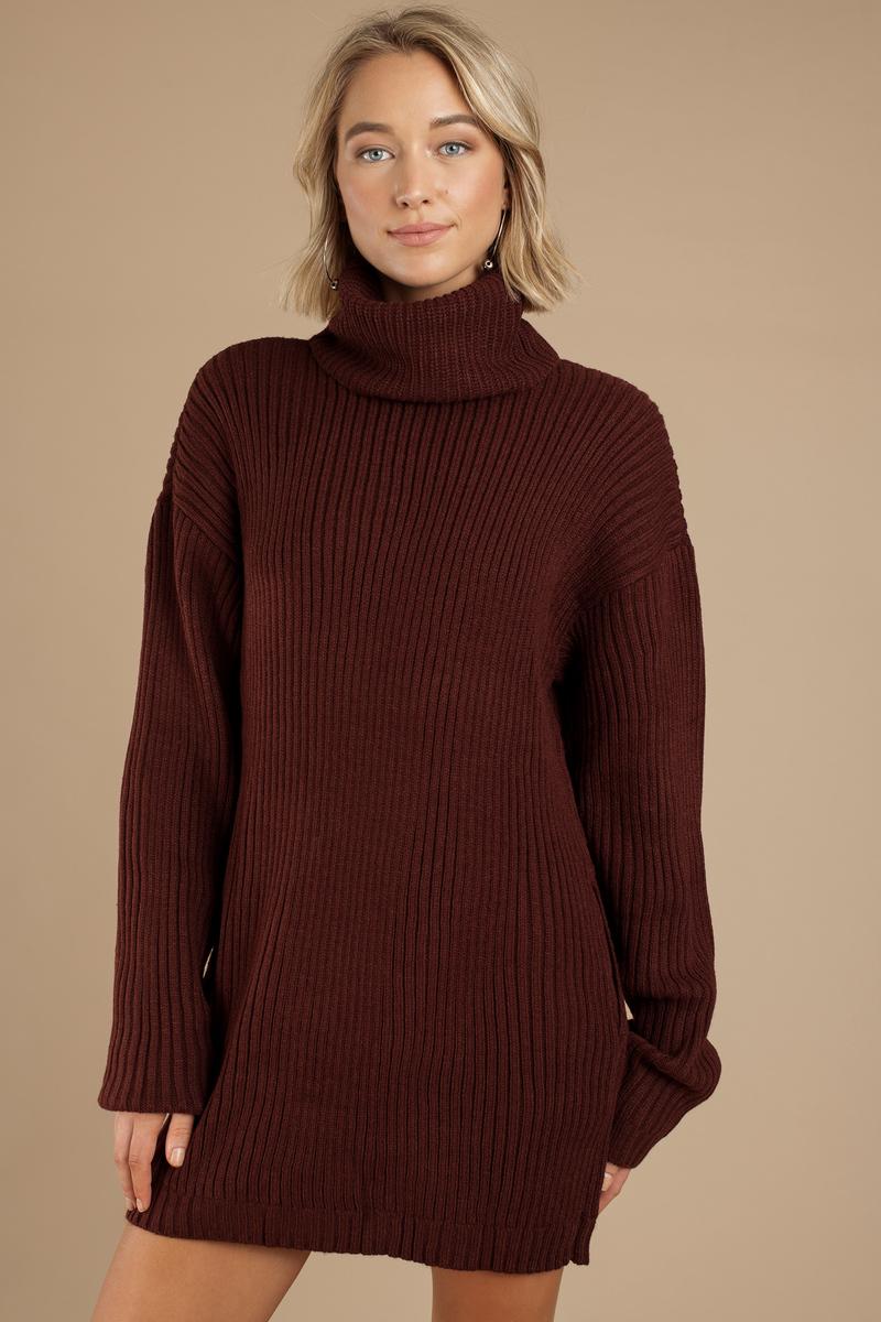 e23b60dad8e Wine Casual Dress - Sweater Dress - Wine Turtleneck Dress -  35 ...