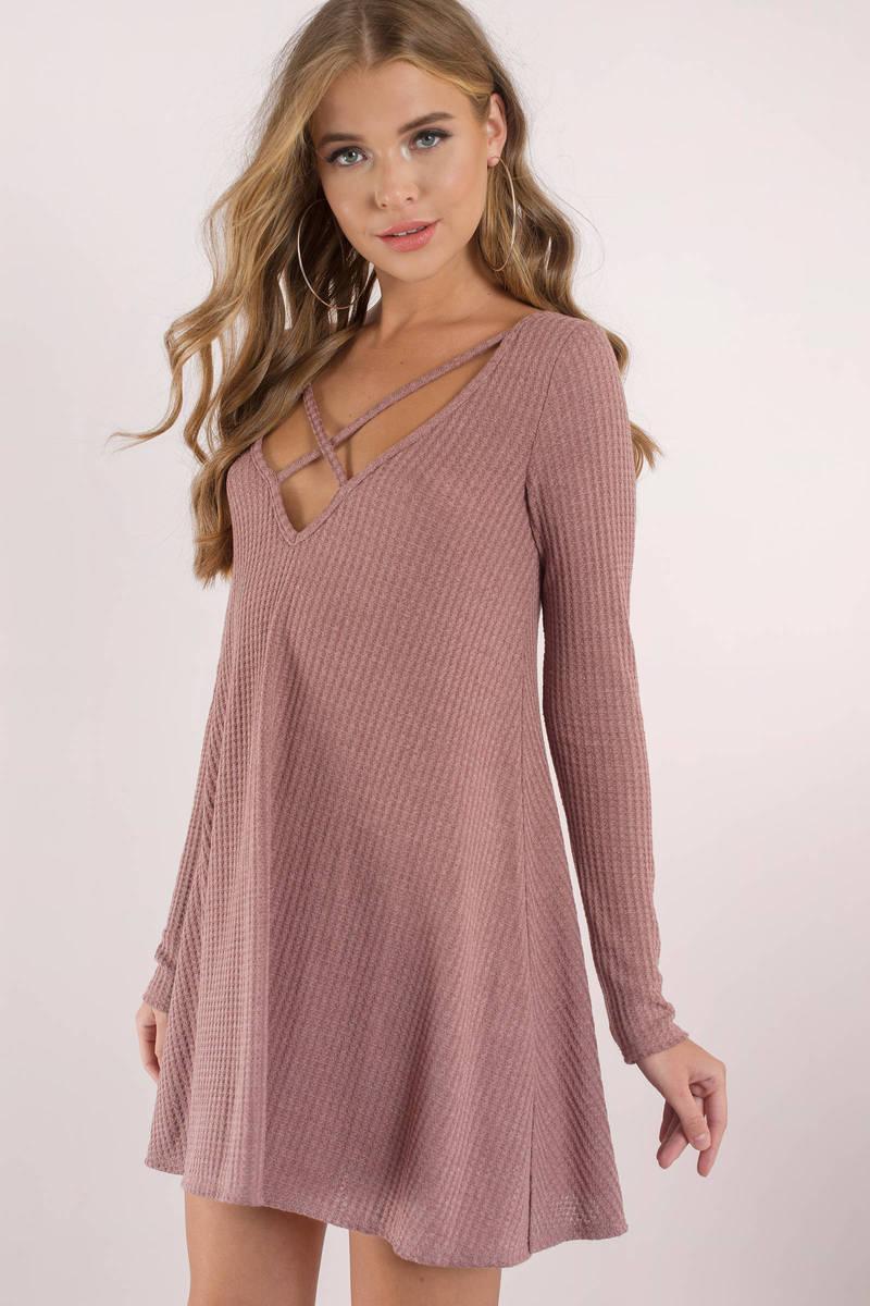 fe5829f6f164 Chic Pink Shift Dress - Knit Mini Dress - Pink Long Sleeve Dress ...