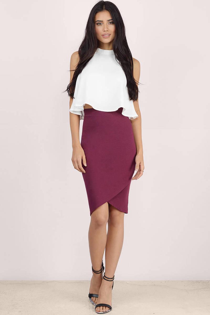 242404fe03 Trendy Wine Skirt - Wine Skirt - High Waisted Skirt - Midi Skirt ...