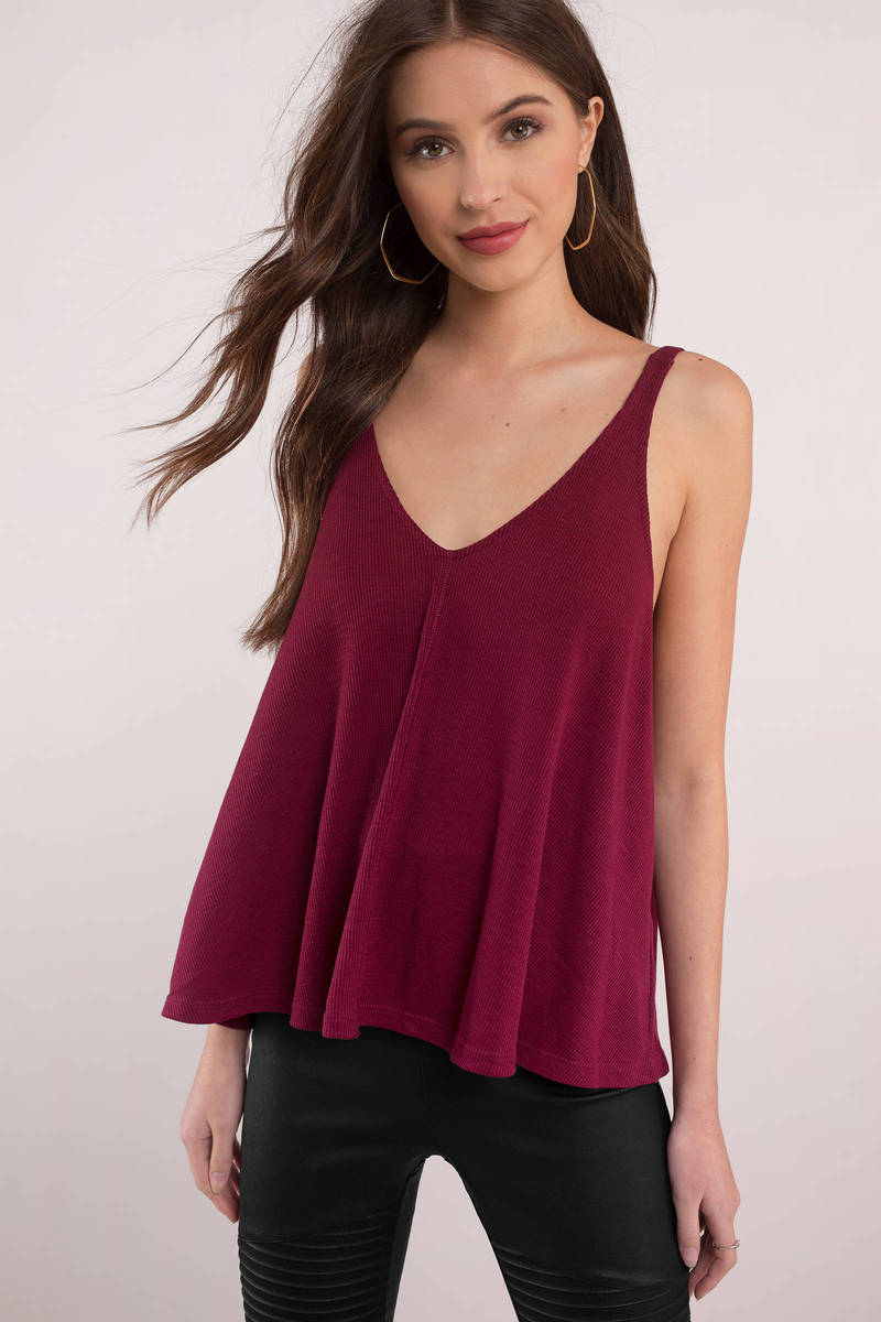 81d1840ae5994f Red Free People Tank - Drop Armhole Tank - Sleeveless Tee - Red V ...