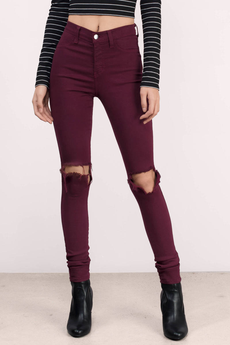 Wine Denim Jeans - Red Jeans - Distressed Jeans - $42.00