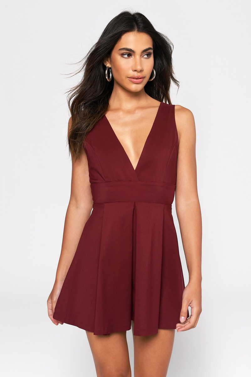 9e1de3dc759 Burgundy Skater Dress - Strappy Dress - Burgundy Swing Dress -  39 ...