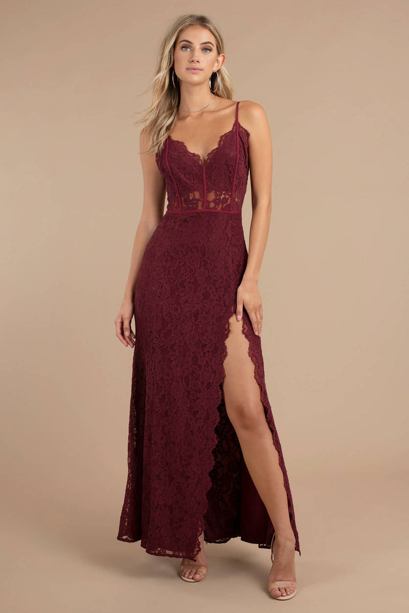 Dress: Delaney Black Side Slit Lace Maxi Dress - $118