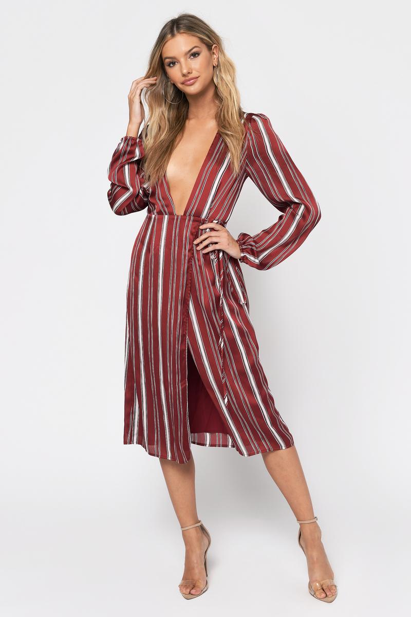3b51953ae1e1 Burgundy Midi Dress - Deep Plunge Dress - Burgundy Striped Wrap ...