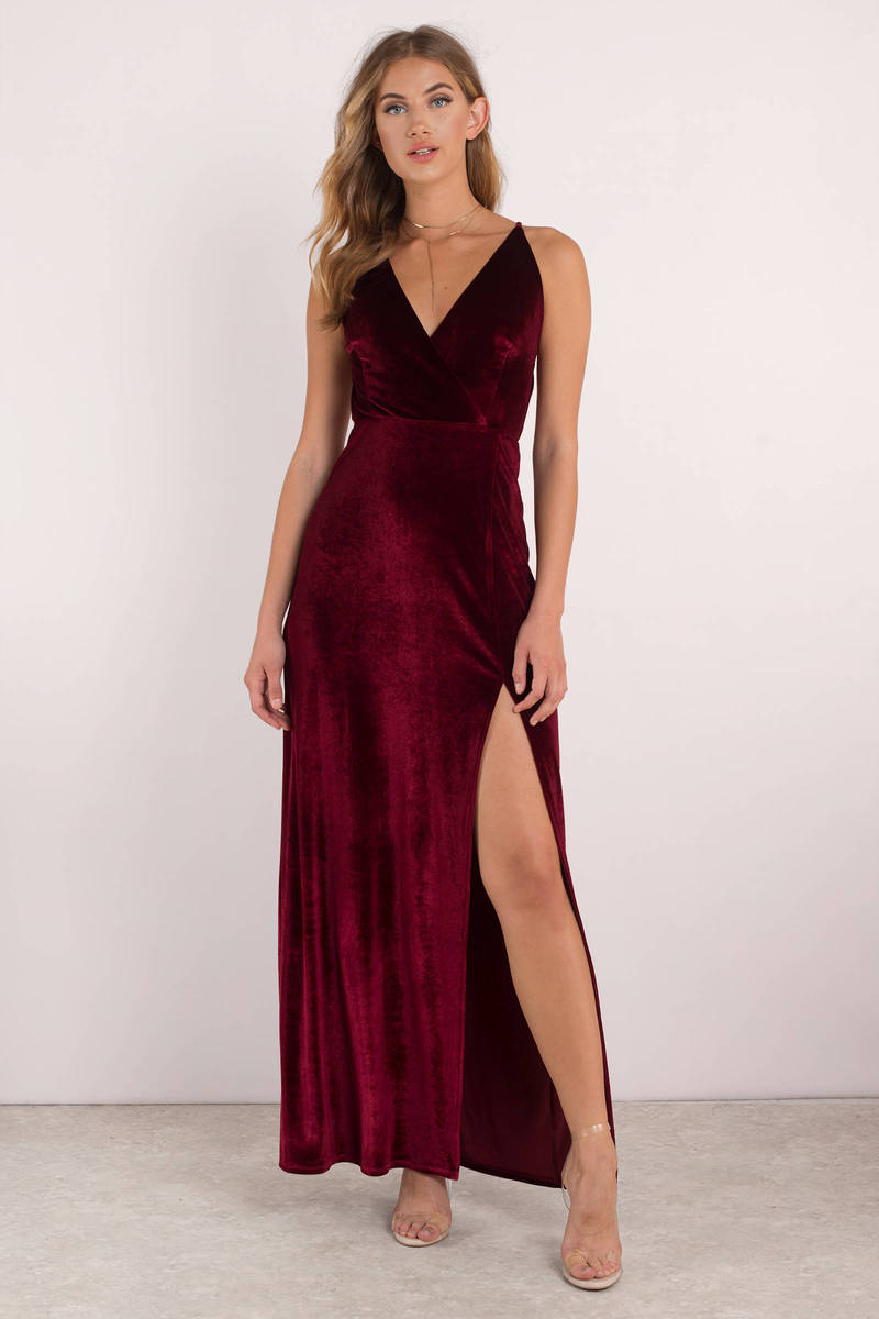 3ed1c98e94 Red Maxi Dress - Velvet Maxi Dress - Red Cross Back Dress - $31 ...