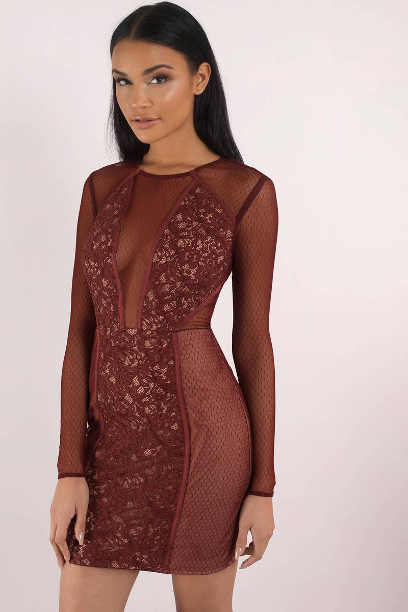 0e21894e53 The Jetset Diaries The Jetset Diaries Emerson Wine Lace Mini Bodycon Dress