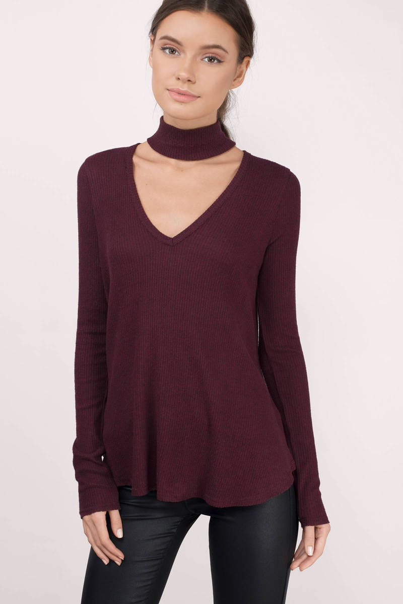 Cute Wine Basic Top Red Top Collared Top