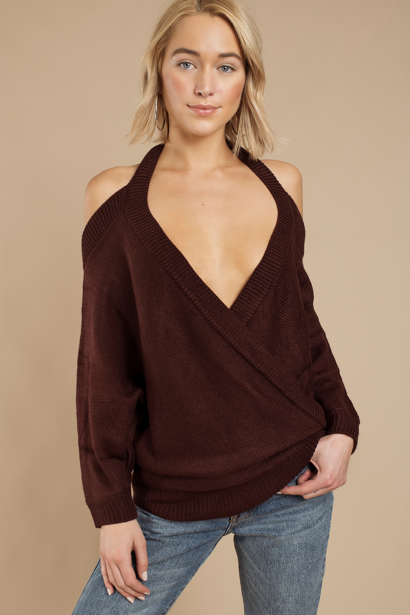 256bc12a773d Wine Sweater - Dolman Sleeve Sweater - Surplice Sweater - Wine Top ...