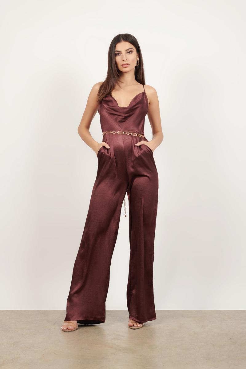5f808af6a9c2 Burgundy Jumpsuit - Formal Backless Jumpsuit - Burgundy Culotte ...