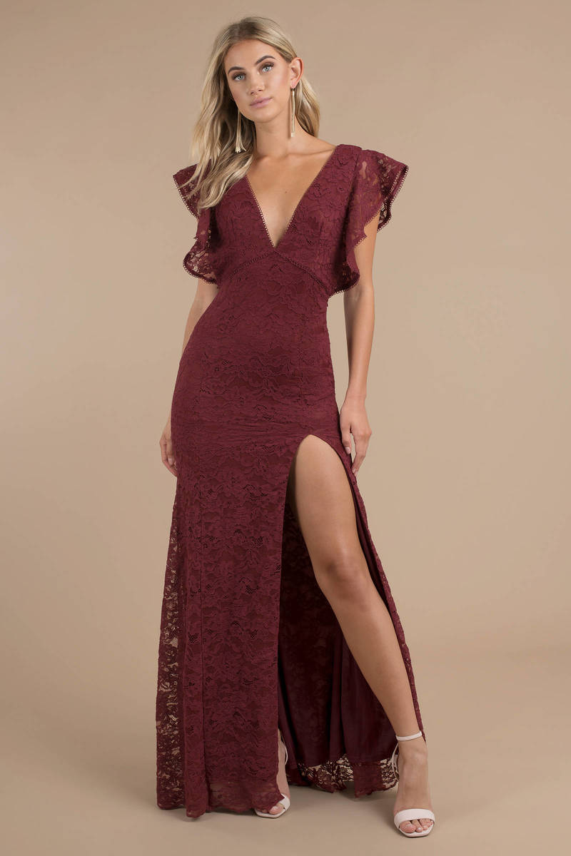 296e8571216 Wine Maxi Dress - Long Lace Dress - Wine Flutter Sleeve Dress - Slit ...