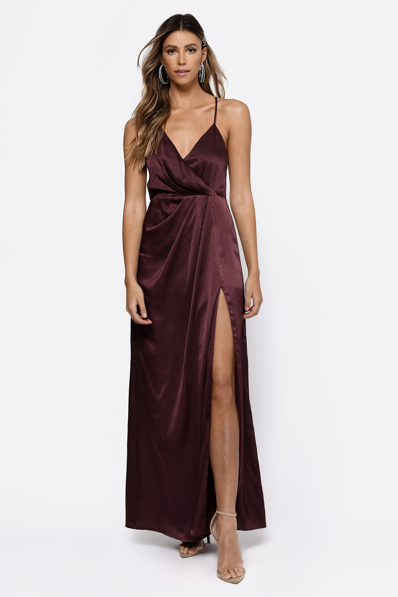 Dress: Burgundy Satin Maxi