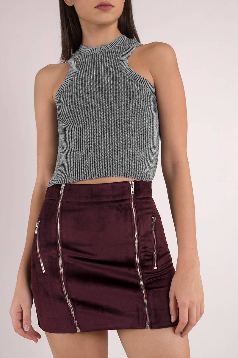Six Crisp Days Six Crisp Days Glesga Wine Velvet Mini Skirt