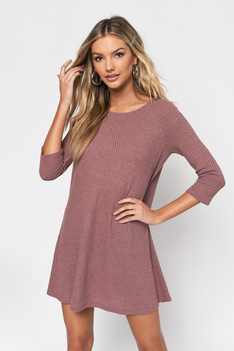 af88a49fa052 Burgundy Swing Dress - 3 4 Sleeve Dress - Burgundy Thermal Basic ...
