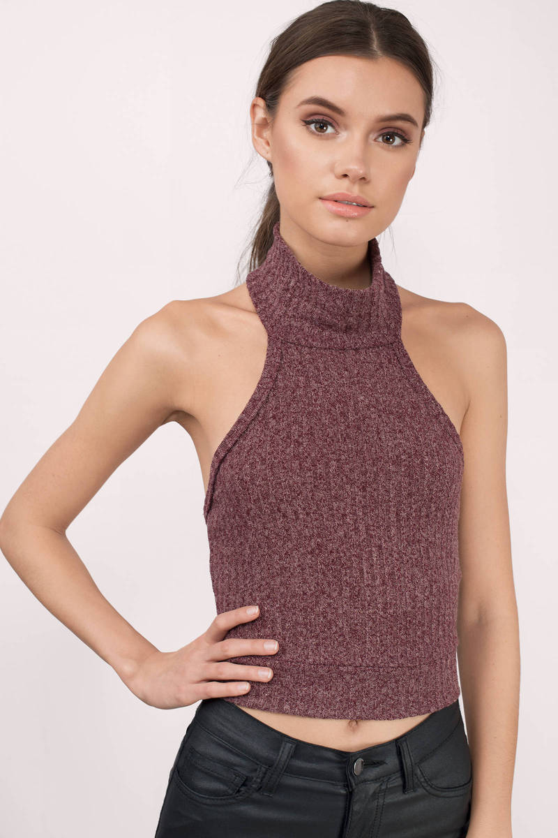 Hillary Wine & Gold Ribbed Crop Top