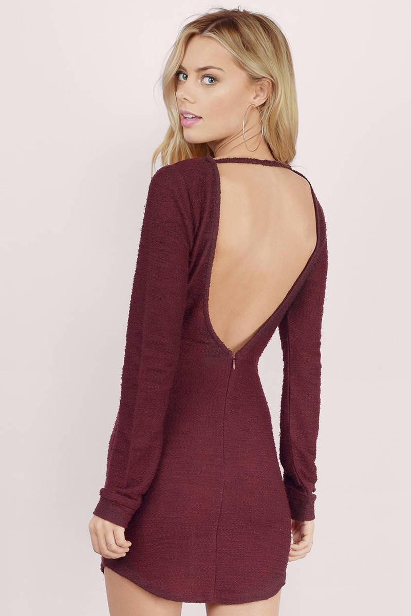 Grey Area Backless Sweater Dress