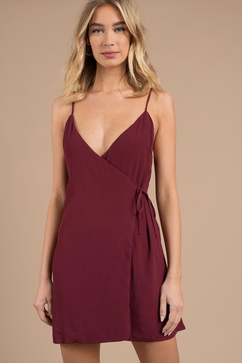 f480701f8786 Wine Shift Dress - Deep V Dress - Wine Dress -  32