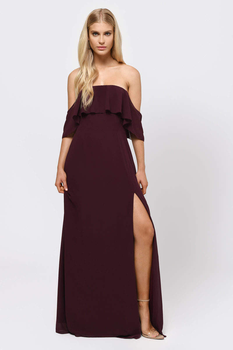 1b96598c80567 Wine Maxi Dress - Semi-Formal Dress - Wine Slit Dress - Strapless ...