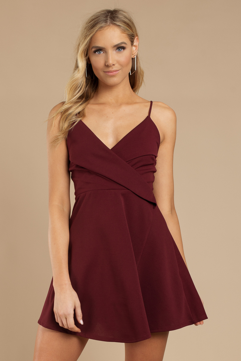78f5c4e60a16 Chic Wine Skater Dress - Surplice Cami Dress - Burgundy Swing Dress ...