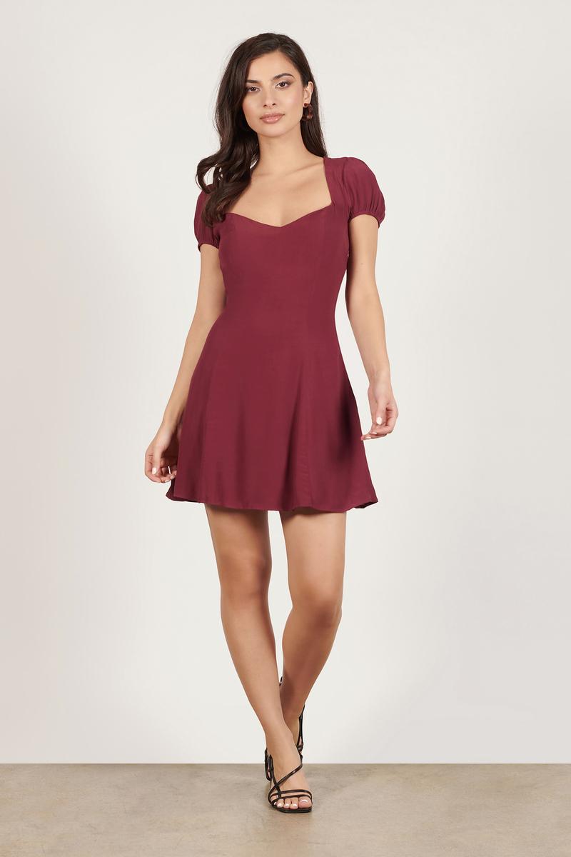 4aa5e613d111 Wine Dress - Skater Dress - Wine Cap Sleeve Dress - Day Dress -  35 ...