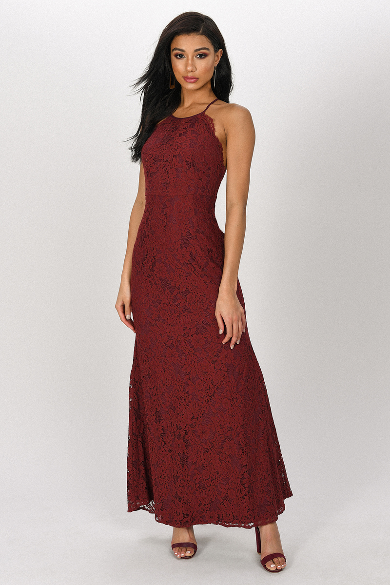 31ae286c042 Burgundy Maxi Dress - Lace High Neck Maxi - Burgundy Formal Gown ...