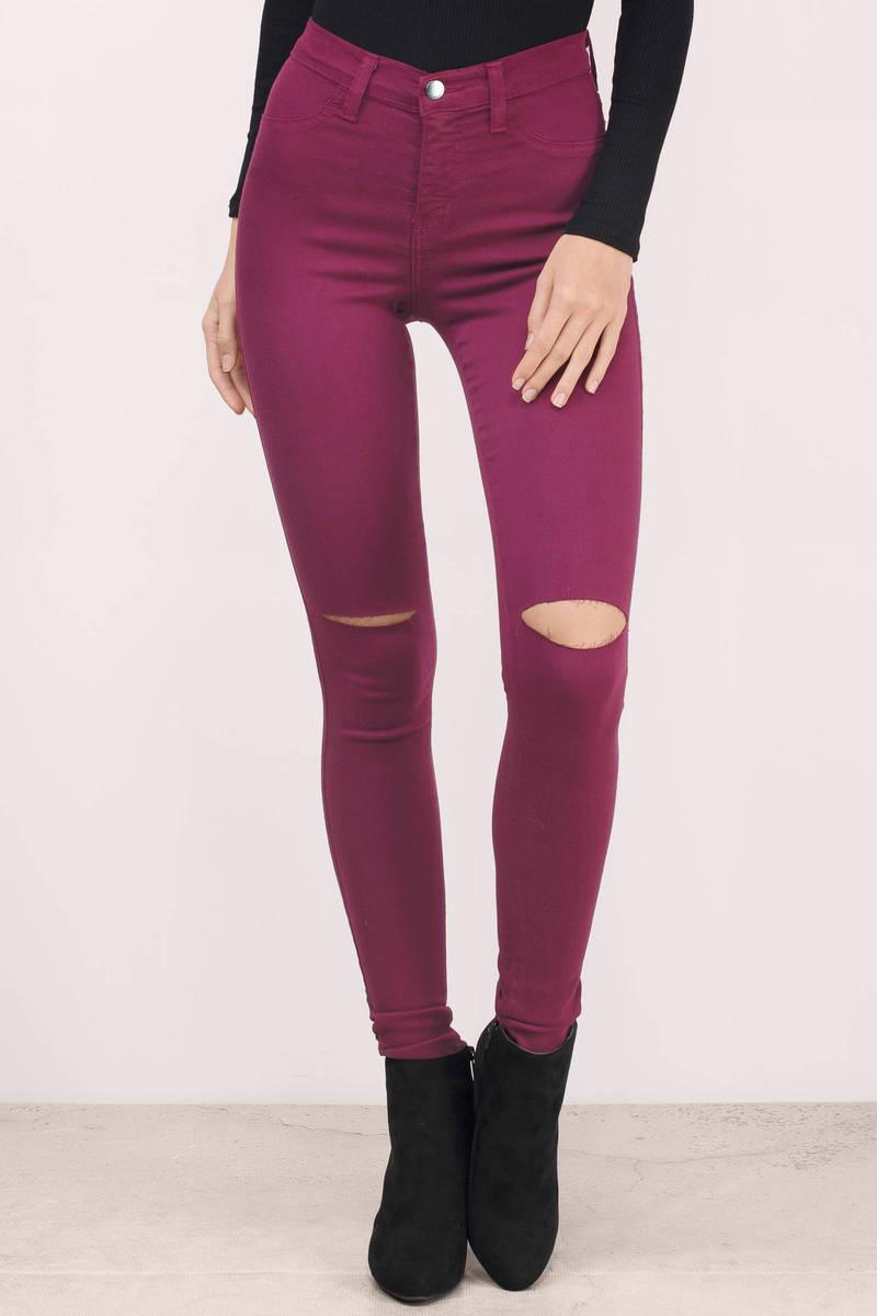 Jourdanna Wine Denim Skinny Jeans