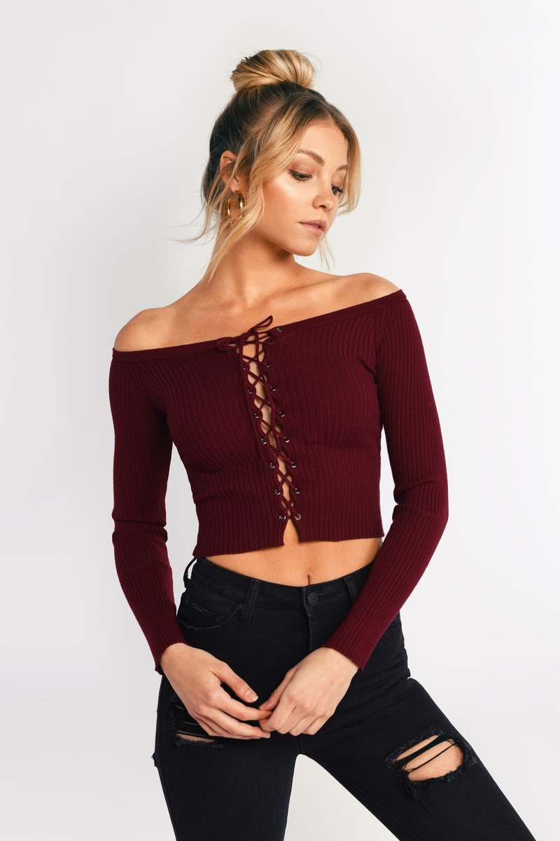 75ca38806dc Cute Wine Top - Off Shoulder Top - Long Sleeve Top - Wine Lace Up ...