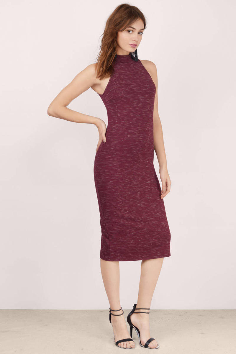 Kyla Wine  Marled Bodycon Dress