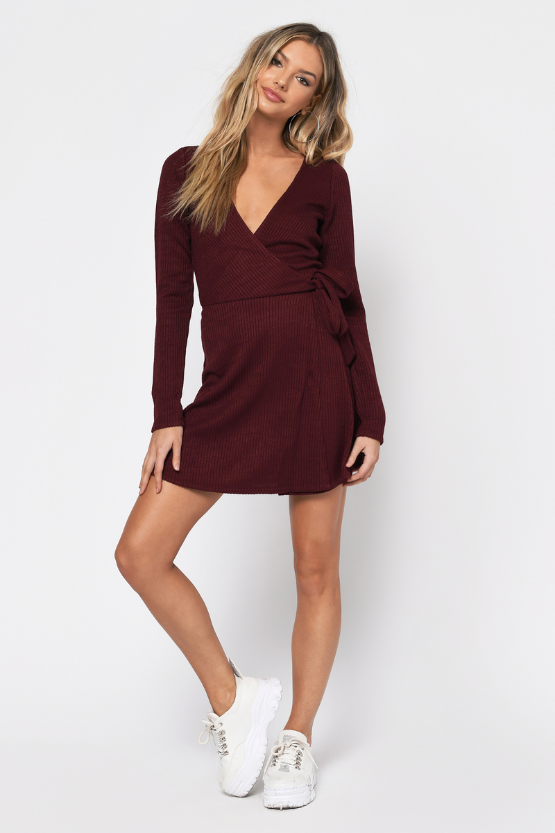 49d748bb8a2c Burgundy Wrap Dress - Ribbed Skater Skirt Dress - Burgundy Front Tie ...