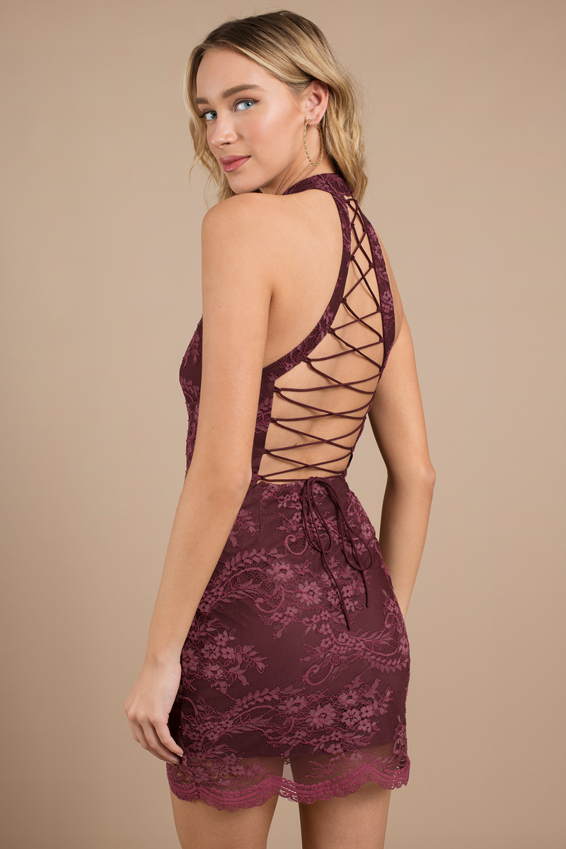 2c9e58da332 Wine Bodycon Dress - Caged Back Bodycon Dress - Wine Lace Up Bodycon ...