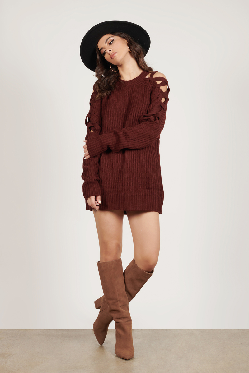 f4ab84f2db Cute Wine Sweater - Lace Up Knit Sweater - Wine Ribbed Sweater -  28 ...