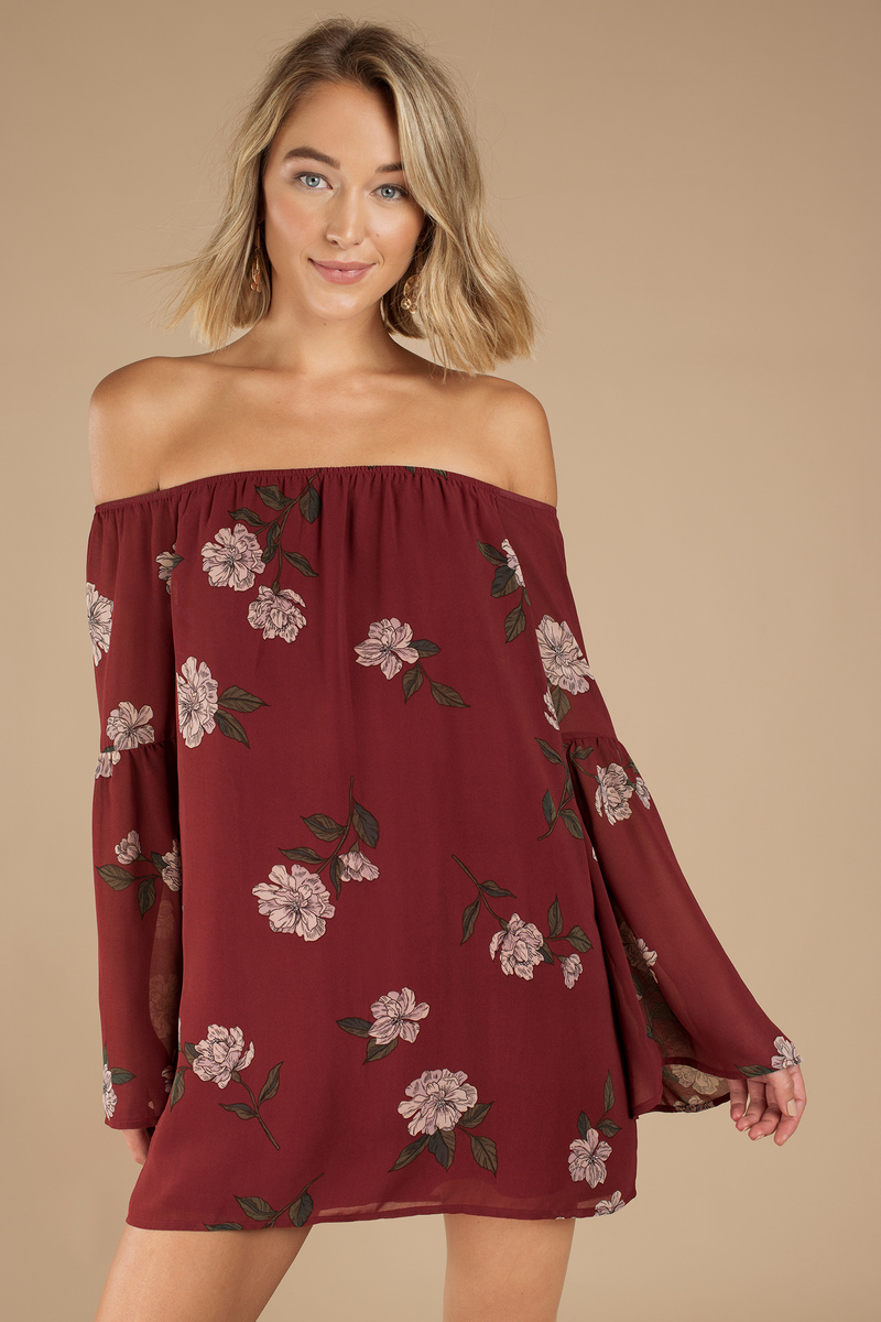 Wine Shift Dress - Off Shoulder Dress - Wine Bell Sleeve Dress ... 45510b3c2