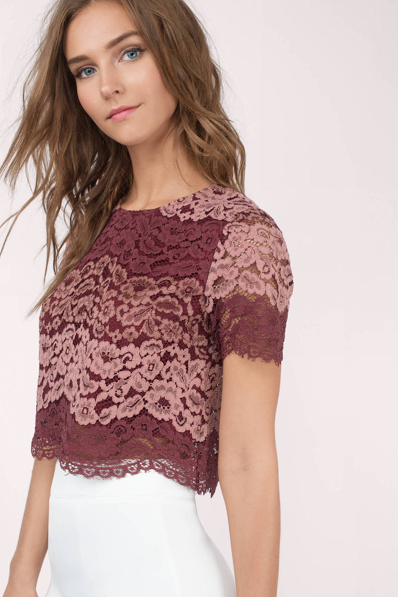 Lysa Wine Multi Lace Crop Top