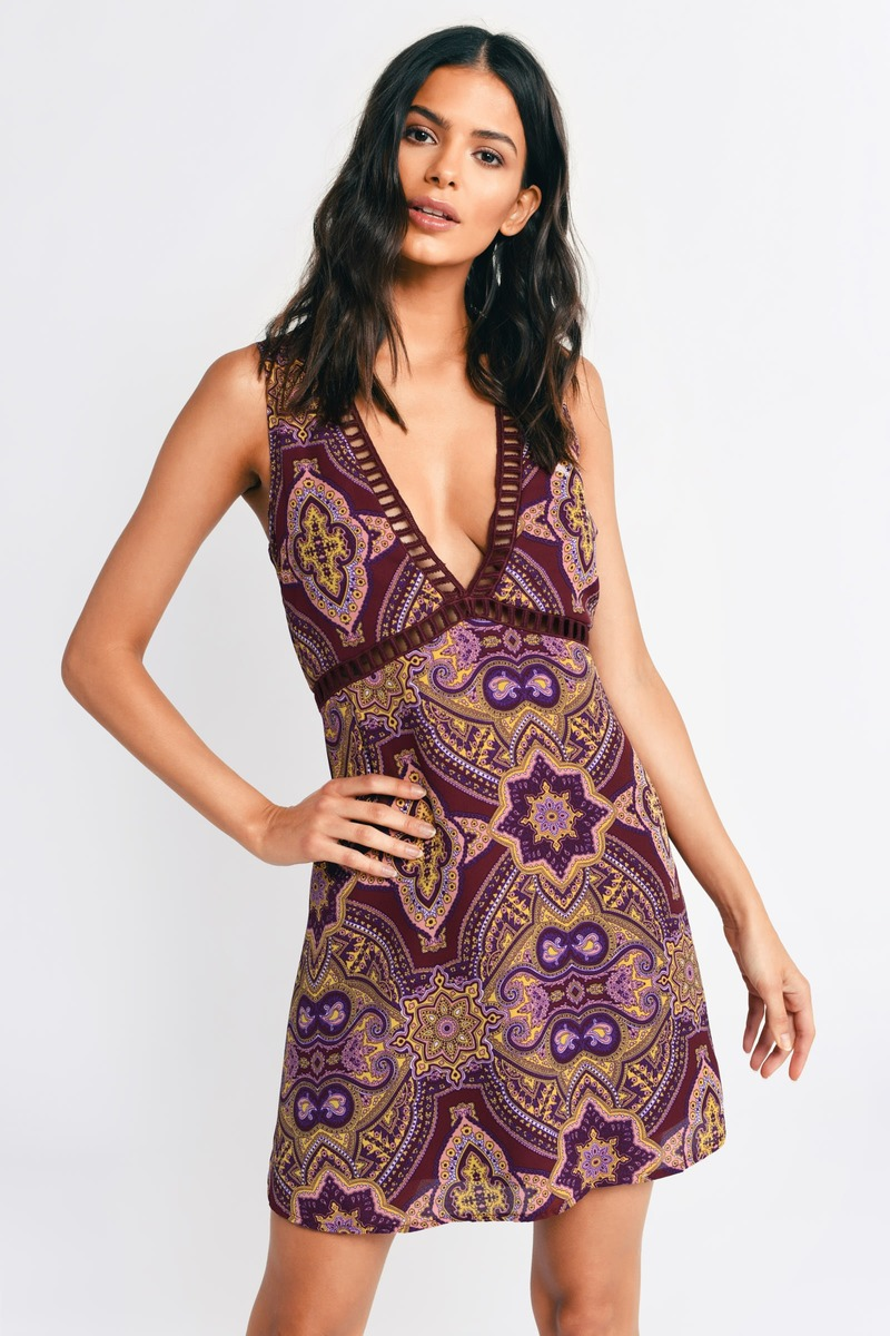 Sun Daze Wine Multi Print Shift Dress