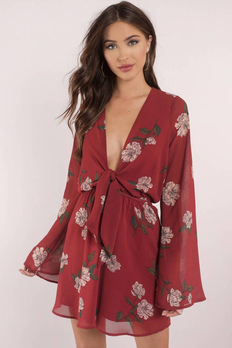 a009eccd56a5 Sexy Burgundy Skater Dress - Long Sleeve Dress - Burgundy Floral ...
