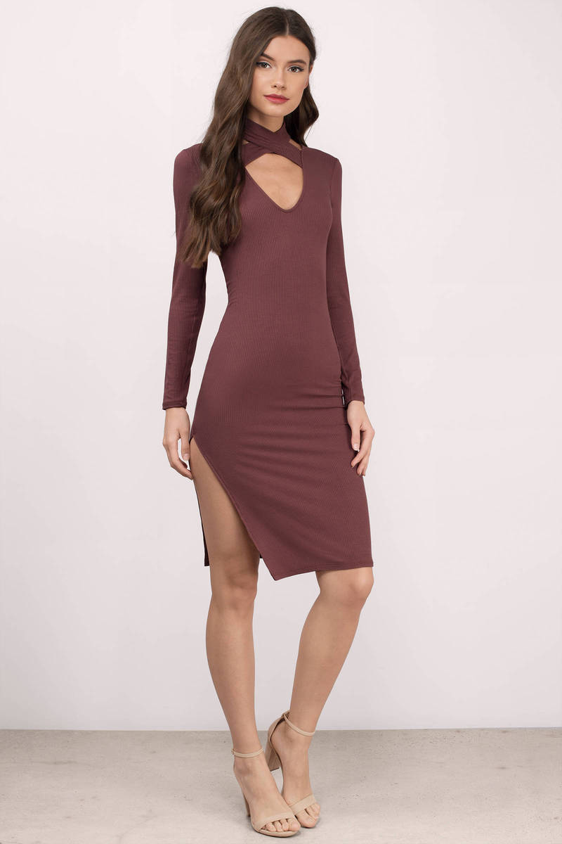 Natalie Wine Jersey Knitted Midi Dress