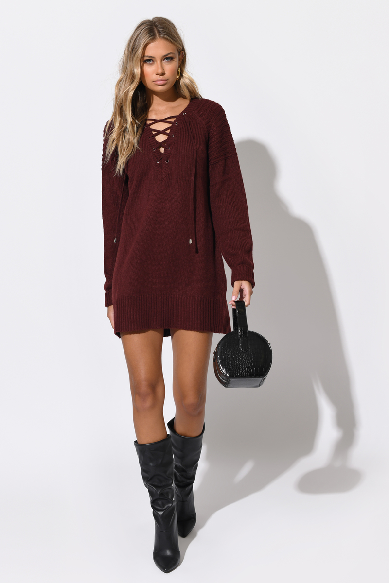 f12759c108 Sexy Wine Casual Dress - Lace Up Dress - Wine Sweater Dress - $25 ...